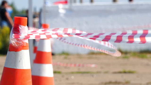 Fencing tape and road cone video