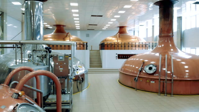 Fermenting kettles in the distillery unit Fermenting kettles in the distillery unit. 4K lager stock videos & royalty-free footage