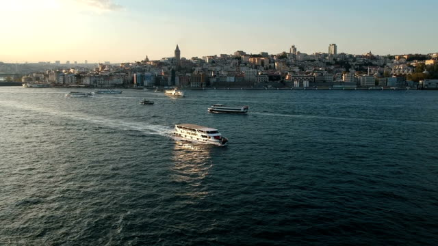 Ferries in Bosphorus and Galata District of Istanbul, Turkey video