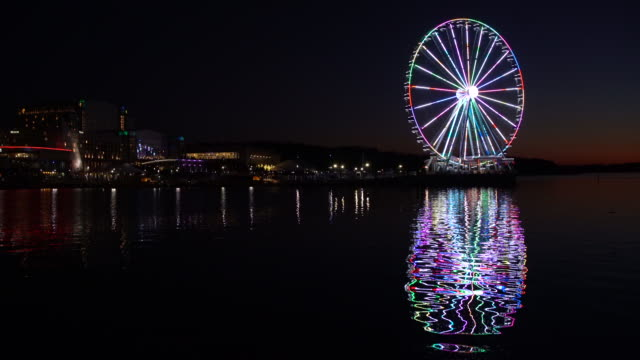 Ferris wheel at National Harbor in Maryland outside Washington DC - video