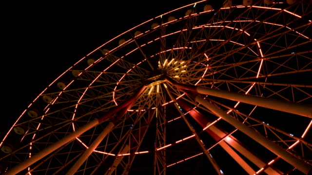 Ferris wheel at night in the city Batumi, Georgia video