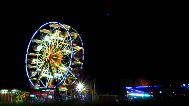 Ferris wheel at night video
