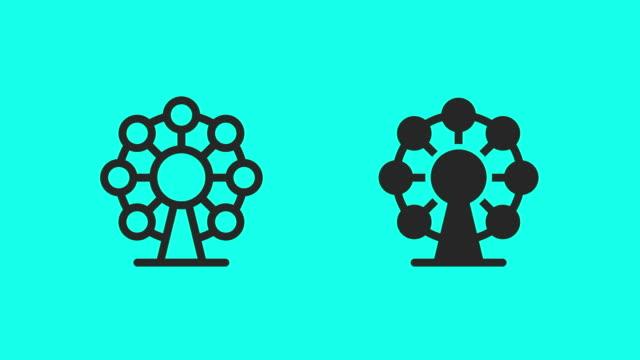 vídeos y material grabado en eventos de stock de iconos de la rueda de la fortuna-vector animate - noria