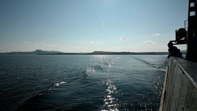 Ferry across the Yenisei River. video
