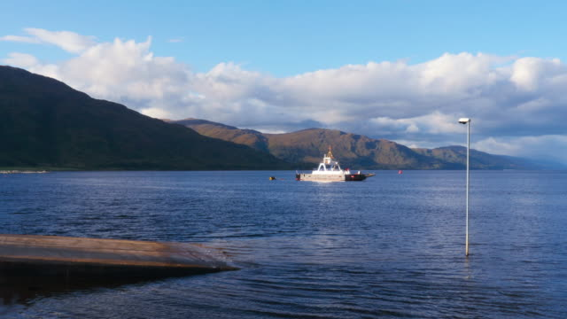 a ferry at loch eli, scotland - fort william video stock e b–roll