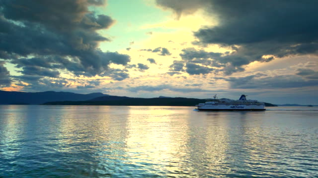 BC Ferry Boat and Islands, Ocean View, Sunset Light Reflection on Water video