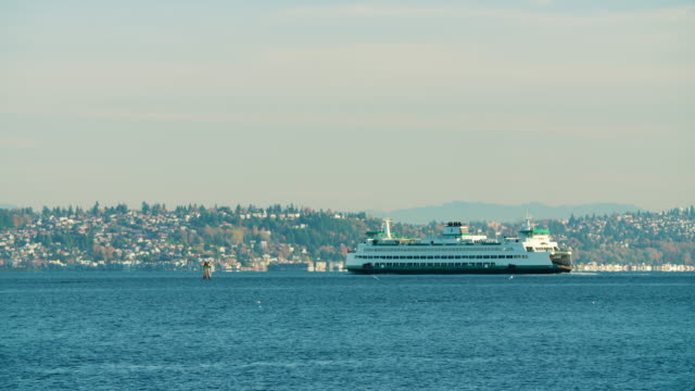 Ferry Boat in Ocean Puget Sound Outside Seattle WA