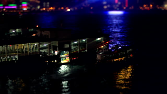 Ferry Docks to Berth in Hong Kong at Night video