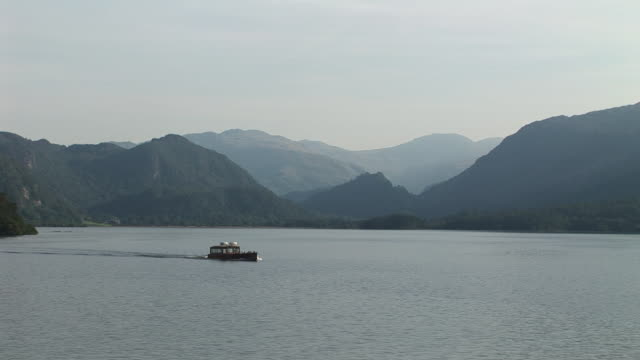 Ferry going across water Lake District England video