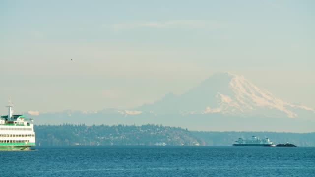 Ferry on Puget Sound Mount Rainier Background Pacific Northwest Washington State Establishing Shot