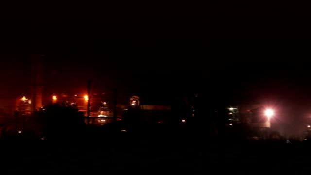 Fertilizer factory at night video