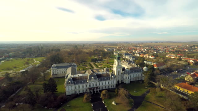 AERIAL Festetics Palace Aerial shot of the Festetics Palace located in the town of Keszthely. Hungary. Europe. hungary stock videos & royalty-free footage