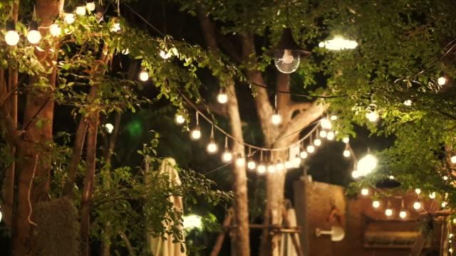 festival decorative light night party in the garden video