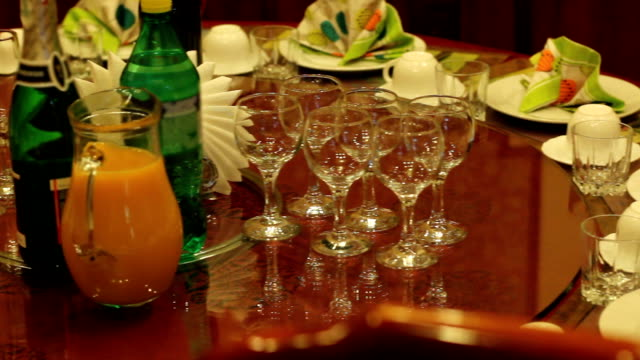 Festive banquet table of 90s, retro celebration of holiday in post-Soviet time video