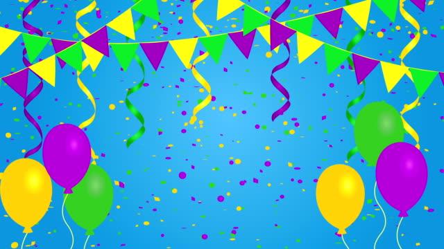 Fondo de carnaval festivo con empavesado banderas, confeti y globos - vídeo