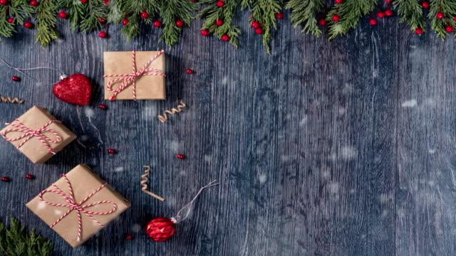 4K Festive Christmas wooden background