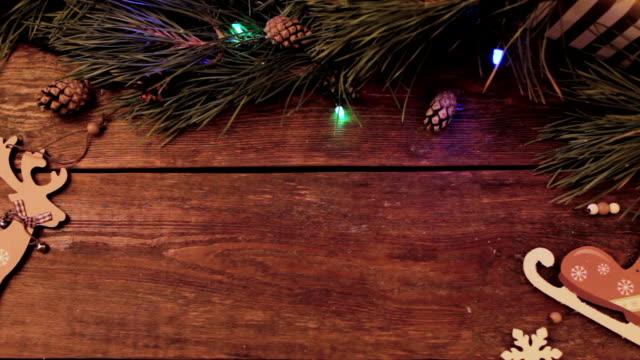 festive christmas wooden background - christmas table video stock e b–roll