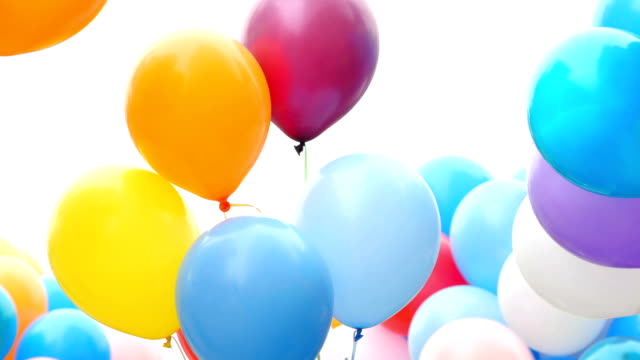 Festive color helium balloons. Festive balloons fastened together happy birthday stock videos & royalty-free footage