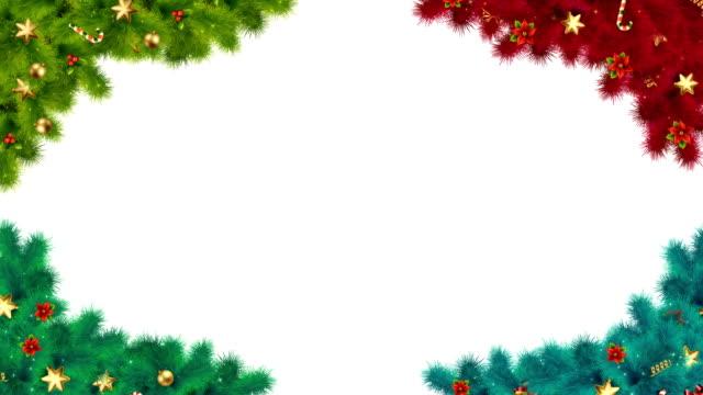 vídeos y material grabado en eventos de stock de elementos de esquina festivos con ramas de abeto, decoraciones, dulces, estrellas y acebo con alpha matte deseándole una muy feliz navidad y feliz año nuevo - holiday lights