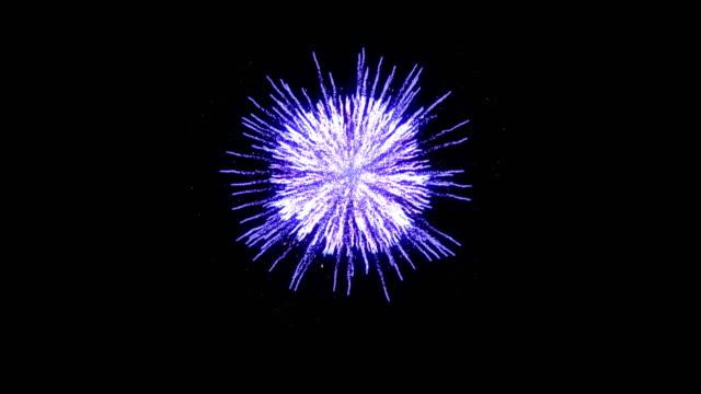 Festive fireworks in blue on a black background 4k