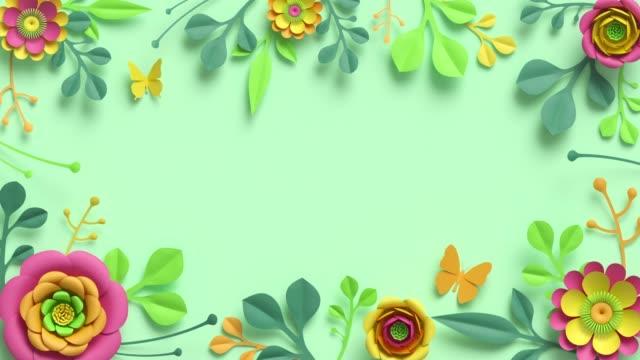 festlig blomram animation. tom botanisk mall med kopieringsutrymme. färgglada pappersblommor och gröna blad växer, som förekommer på pastellmynta bakgrund. dekorativa blomsterarrangemang - blommönster bildbanksvideor och videomaterial från bakom kulisserna