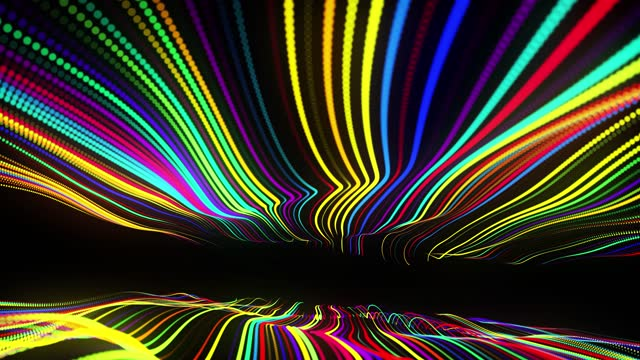 Festive vj loop with multicolored particles and smooth animated camera. Abstract 3d bg with glow particles lined up in a row along curved waving lines in 3d space. Motion design background. video