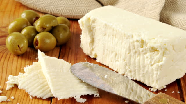 feta cheese and green olives - paprica video stock e b–roll