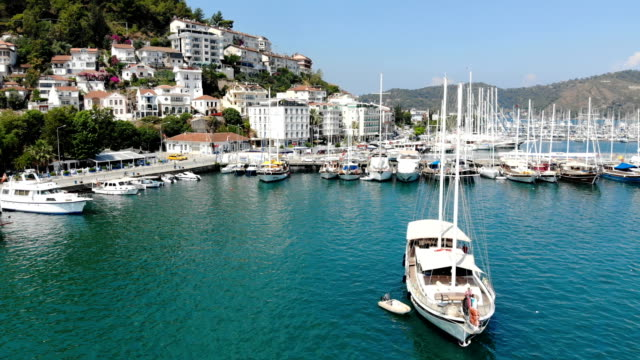 fethiye harbor - fethiye video stock e b–roll