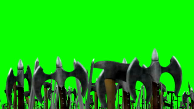 Few Warriors Waving Up their Weapons with Axes and Swords on a Green Screen Background