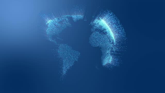 connessioni in fibra ottica che si muovono intorno alla terra. - world video stock e b–roll