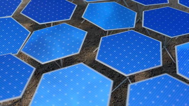 otomatik konumlandırma sistemi döngü 3d animasyon ile kurgusal güneş panelleri - jeneratör stok videoları ve detay görüntü çekimi