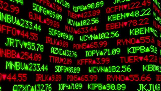 Fictional Stock Market Ticker Wall video