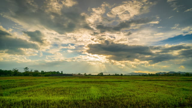 field and clouds with sunrays 4K time lapse