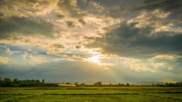 feld und wolken mit sonnenstrahlen 4k zeitraffer - sonnenaufgang stock-videos und b-roll-filmmaterial