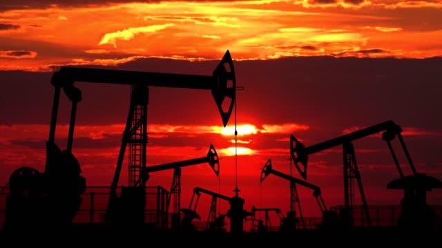 stockvideo's en b-roll-footage met gebied van olie pumpjacks tegen rode schemering - chemische fabriek