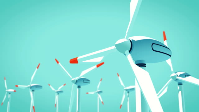 Field of Wind Turbines, Animated 3D Illustration - 4K 60fps 10 Second Seamless Loop - Black and White Matte Included