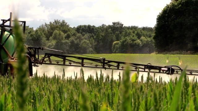 vidéos et rushes de spray champ avec des produits chimiques pour la protection contre les organismes nuisibles plantation de plantes - herbicide