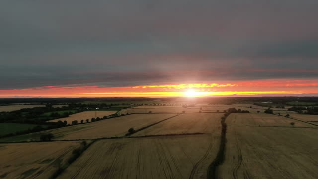 Fields at sunset in Autumn from a drone video