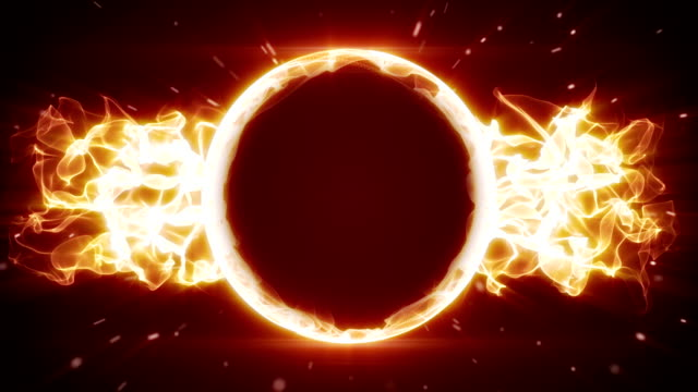 fiery circle and fractal form loopable background video