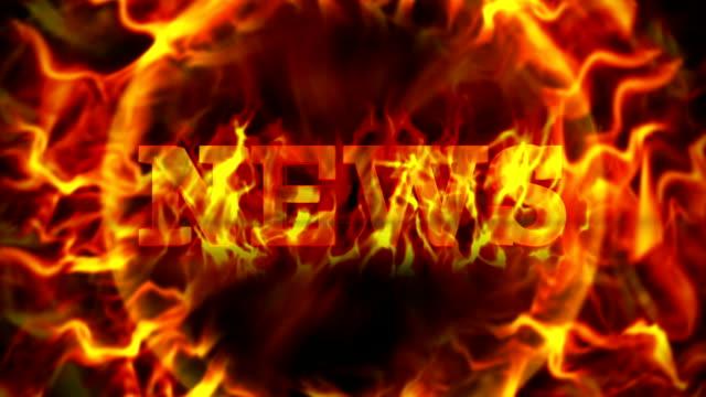 stockvideo's en b-roll-footage met fiery news text, and flames ring, loop - magazine mockup