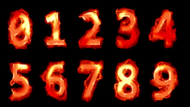 Fiery numbers Burning numbers. Alpha matte channel. alphabet stock videos & royalty-free footage