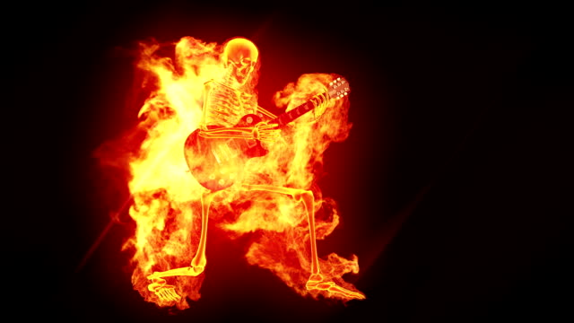Fiery skeleton with a guitar Fiery skeleton with a guitar rock music stock videos & royalty-free footage