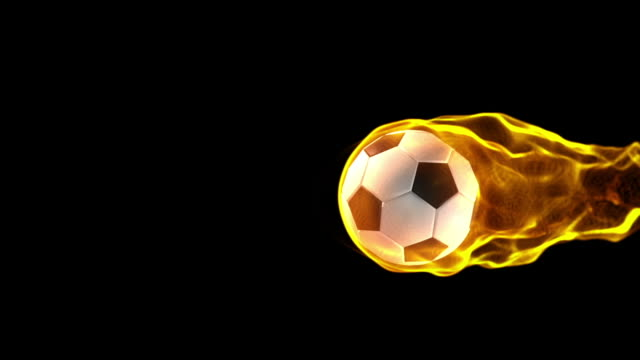Fiery Soccerball moving across video