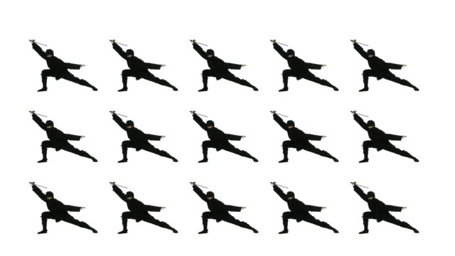 Fifteen Assassins Masked ninjas draw swords and strike a dramatic pose.  Loopable clip with white background. ninja stock videos & royalty-free footage