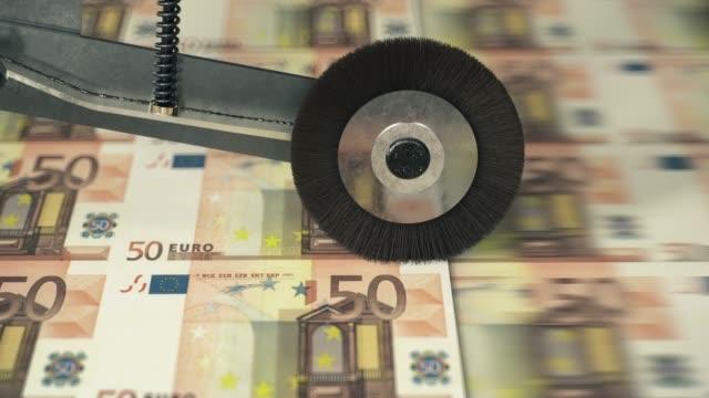 fifty euro banknotes printing - valuta dell'unione europea video stock e b–roll
