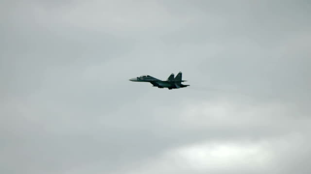 Fighter aircraft flying fast in the sky video