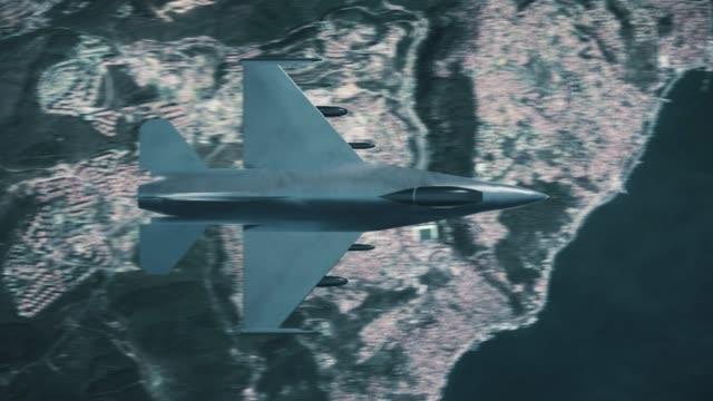 都市を飛ぶ戦闘機 - こっそり点の映像素材/bロール