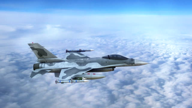 Fighter jet, military aircraft in flight video