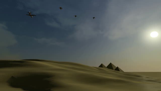 Fighter jets attacking in the Egyptian desert video