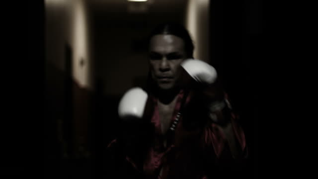Fighter shadow boxes with boxing gloves on. video
